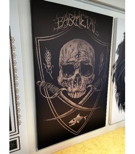 Barmetal Leinwand 90x60 CM Skulls N' Swords