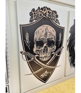 Barmetal Leinwand 90x60 CM Skulls N' Swords White