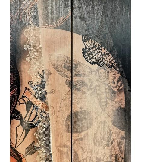 Barmetal Smoking Lady Design auf Holzlatten 90x60 CM