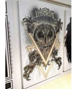 Barmetal Leinwand 90x60 CM Illuminated Owl White