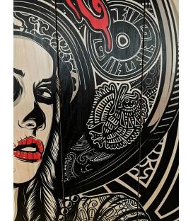 Barmetal Mexican Design auf Holzlatten 90x60 CM