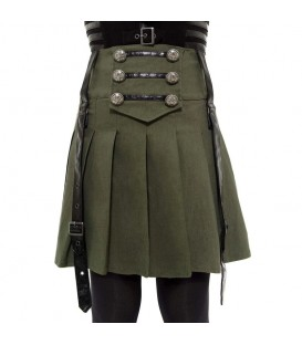 Killstar Mini Faltenrock Dark Academy Khaki