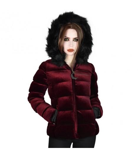 Killstar Samt-Winterjacke Lisa Luna Blood Red