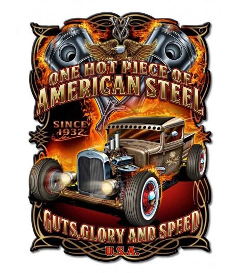 Metallschild American Steel