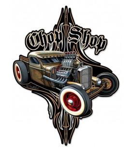 Metallschild Rat Rod Chop Shop