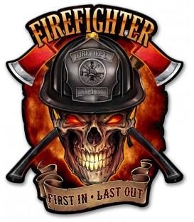 Metallschild Fire Fighter Skull
