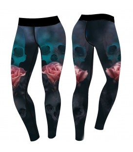 4AmazINK People Leggings Skull Roses