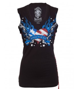 Rebel Saints Tank Flaming Stars