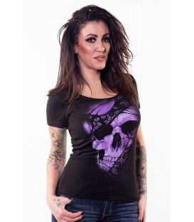 Lethal Angel Shirt Purple Lace Skull