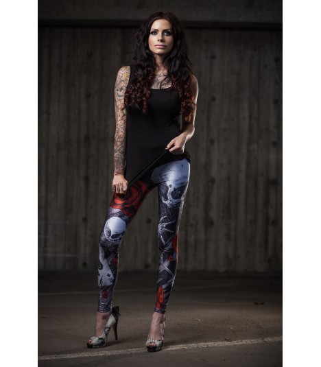 Cuts and Stitches Leggings Grey Skull
