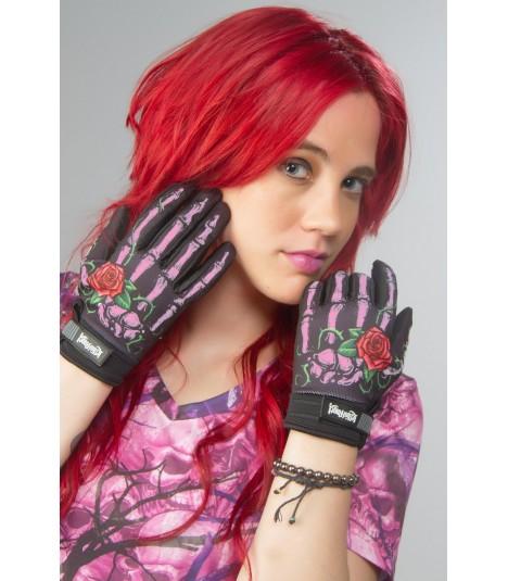 Lethal Angel Handschuhe Pink Skull